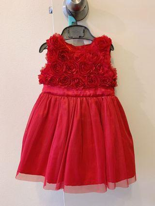 Red floral detailed dress