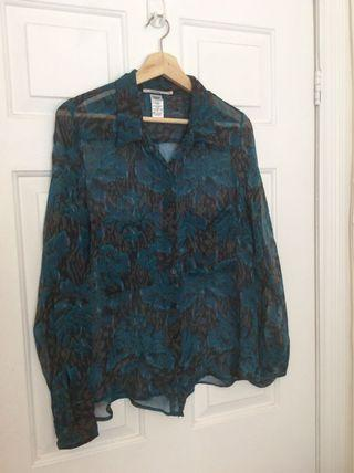 Language brand silk button down top size medium