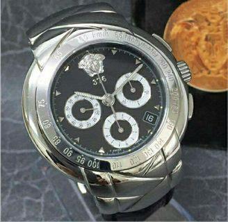 💯正品VERSACE手錶 正品 VERSACE 限量 凡賽斯 計時 機械 自動 手錶 真品 范思哲 GIANNI VERSACE CHRONO AUTOMATIC LIMITED EDITION EBEL MECHANICAL