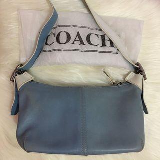 Coach Light Blue and White Shoulder Bag