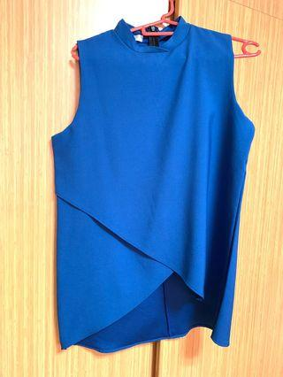 Blue Mandarin Collar Sleeveless Top