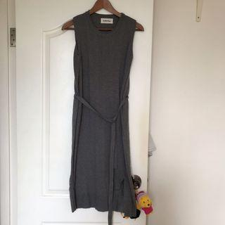 Made in Korea Ballerina高質修身I line 灰色無袖薄knit dress onepiece