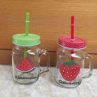玻璃方瓶吸管杯2款一組