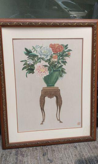 靓木框中國画。