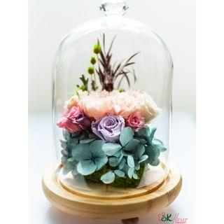GREENHOUSE GLASS WITH LED LIGHT (24cm) - BABY PINK CARNATION 02