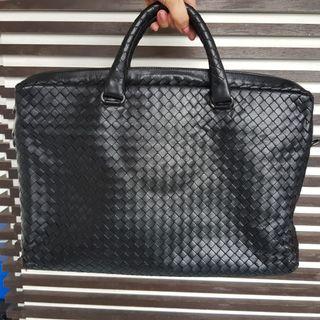 Bottega Veneta Black Intrecciato Calf Briefcase Laptop