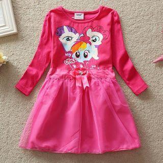 [Ready Stock] 🌈My Little Pony Lace Princess Dress Cartoon Girls Clothing