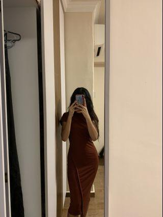 brown ribbed bodycon dress