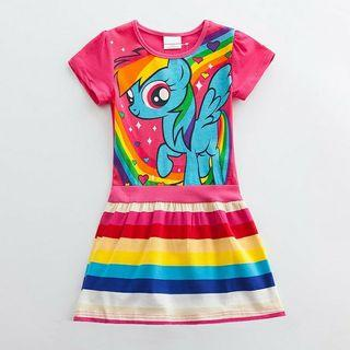 [Ready Stock] 🌈Girls Dress Cute Cartoon My Little Pony Dress Summer Clothing