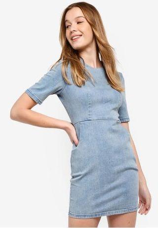 Denim V-Neck Bodycon Denim Dress