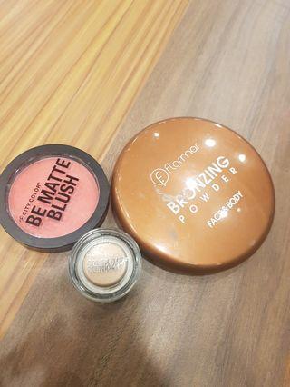 Blush, brozer, and eyeshadow