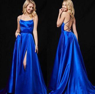 Sherri Hill Royal Blue Satin Gown