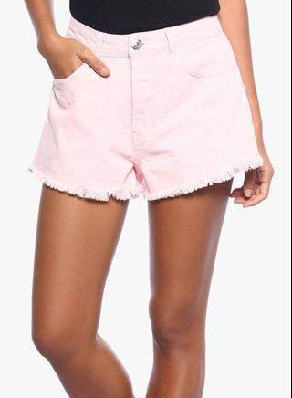 Forever 21 Button-Front Denim Shorts (Pink)