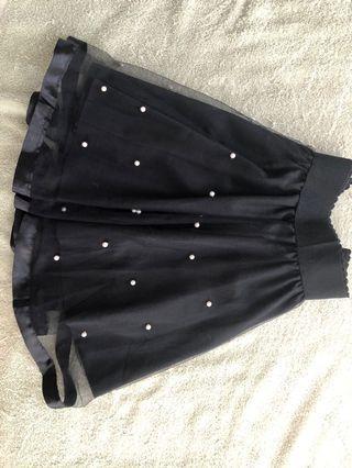 🚚 黑色雪紡造型短裙