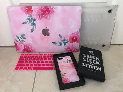 "Pink Floral MacBook Air 13"" Case & iPhone 7 Case"