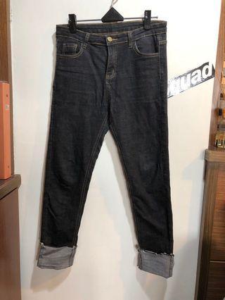 🚚 反摺直筒牛仔褲