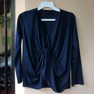 ATS agree to shop knotted navy blue blouse