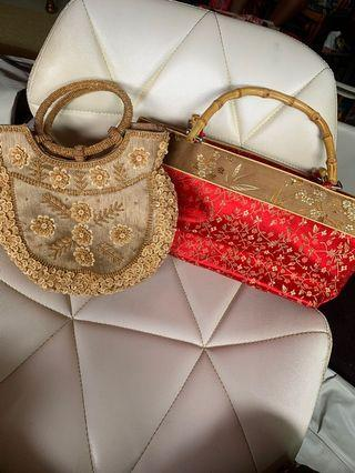 Beads pouch & red flower bag