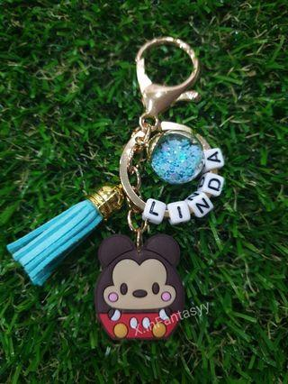 Mickey Tsum Tsum keychain with customised name