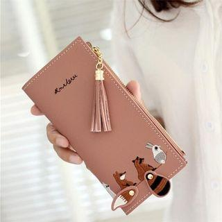 Movable tail cute animal long wallet