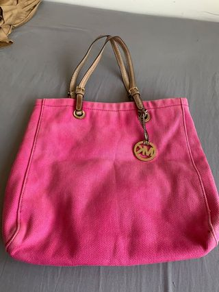 006d497ba21e Original Preloved Michael Kors Pink Canvas Tote Bag