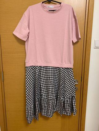 🚚 Oversized Korean Pink Bottom Checkered Dress