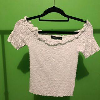 GLASSONS Bardot shirred White off-shoulder top
