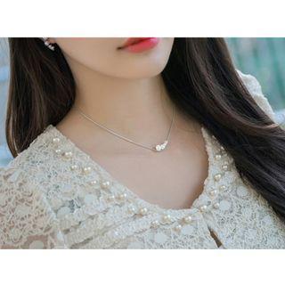 Delicate 925 silver Pearl Zirconia Necklace ❬KY❭