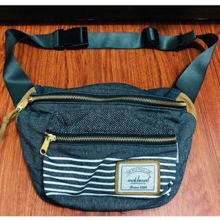 Matchwood  腰包 側背包 斜背包 胸前包 小物收納包 深色丹寧牛仔布條紋款