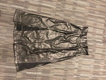 Black leather long dress
