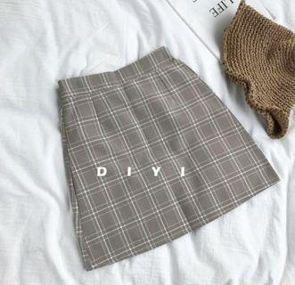Plaid A-Line Skirt in Coffee