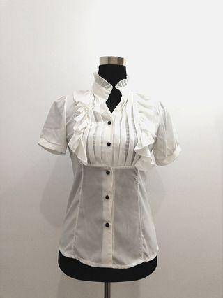White formal button down top with frills #OYOHOTEL