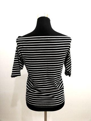 Black and white stripped off-shoulder three quarter sleeve top #OYOHOTEL