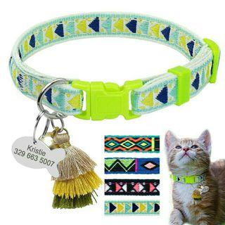 [Pre-Order] Printed Cat Kitten Collar Personalized Pet Puppy Cat ID Tag Collars With Bell Safety Adjustable