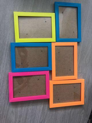 🚚 4R Neon / Bright Photo frames in pink, orange, yellow & blue