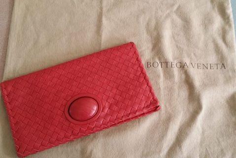 Bottega Venetta Red Leather Clutch