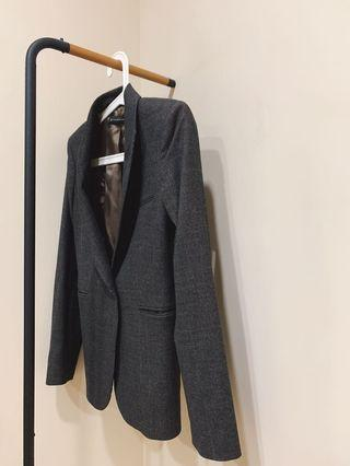Zara 西裝外套 格紋 復古 英倫風 英式 正式 面試 正裝