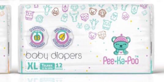 🚚 Peekapoo baby diapers extra soft XL pull up pants 12 pieces travel trial pack