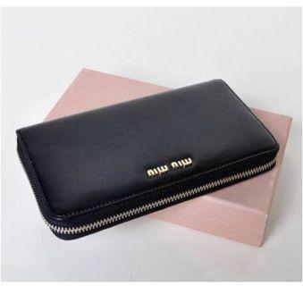 Miu Miu Shiny Black Gold zipper wallet