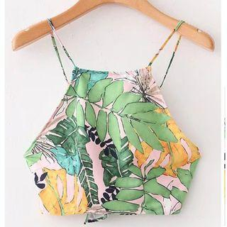 Floral Leaves Sleeveless Camisole