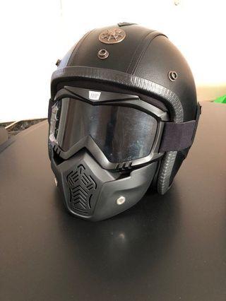 Helmet Vintage/Cafe racer with mask