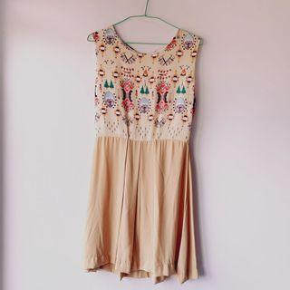 Forest print flare dress
