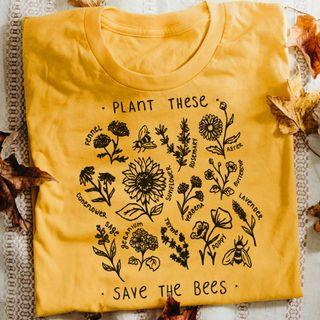 Save The Bees Wildflower T shirt Cotton
