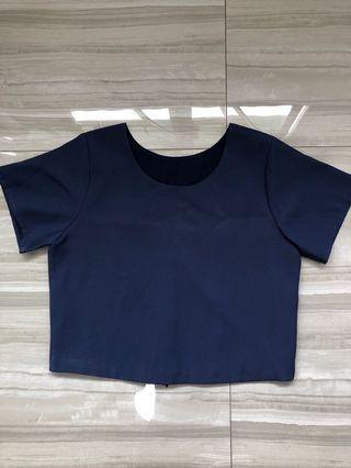 Navy Blue Crop Top