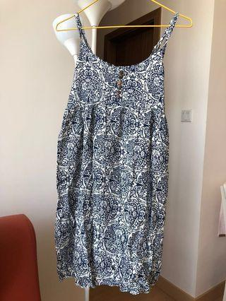 Blue indigo print summer dress 吊帶裙 100%new 全新