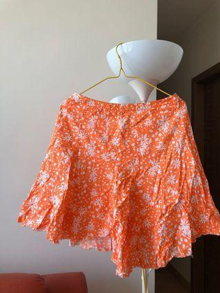 [Izzue] orange floral summer Skirt 夏日橙花短裙