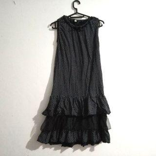 Black Dress / mini dress / ruffle dress