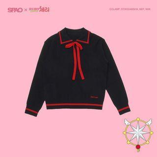 SPAO x CARDCAPTOR SAKURA Ribbon Collar Sweater