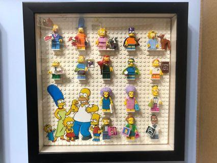 Lego minifigures 71009 The Simpsons series 2 complete set with Display Frame(有底板, 圖紙,連相架)