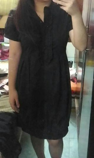 Dress Hitam Kantor Polos - Fit to M